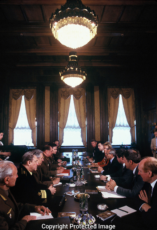 Secretary of Defense, Frank Carlucci with USSR Defense chief General Dmitry Yazov at the Moscow III Summit in June 1968--the full staff meeting<br /> Photo by Dennis Brack