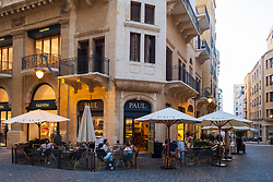 Paul cafe  on fashionable street in restored Downtown district Beirut, Lebanon
