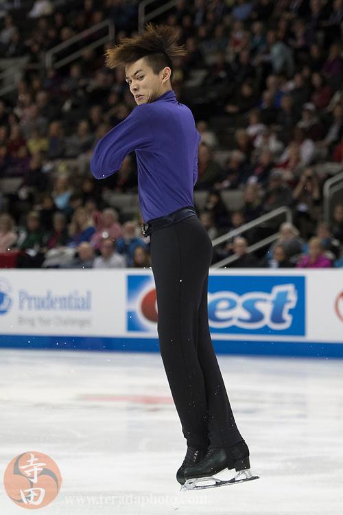 January 4, 2018; San Jose, CA, USA; Kevin Shum in the mens short program during the 2018 U.S. Figure Skating Championships at SAP Center.