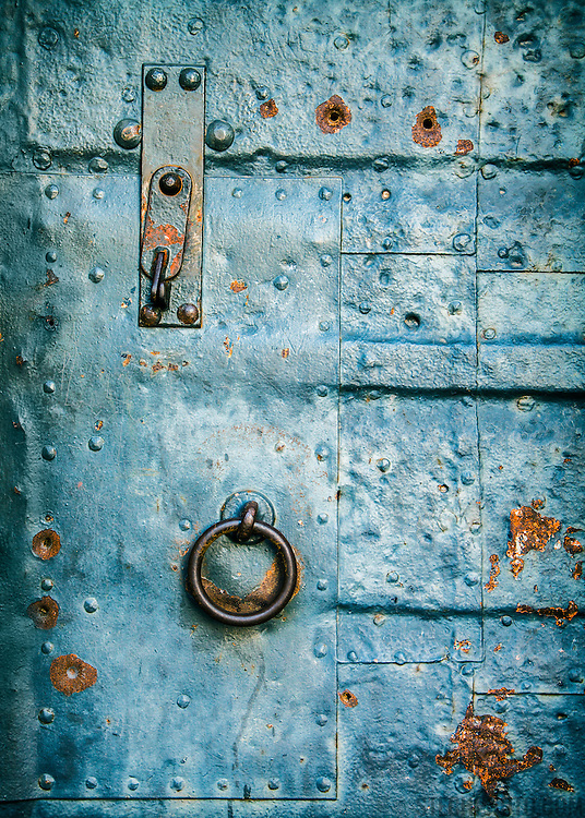 Abstract of a metal door protecting a medieval German tower.