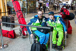 Gal Jakic and Jernej Slivnik prior to the departure of Slovenian Paralympic team for Pyeongchang 2018 Winter Paralympics, on March 3, 2018 in Letalisce Jozeta Pucnika, Brnik, Slovenia. Photo by Vid Ponikvar / Sportida