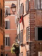 Colourful Buildings on Via Della Pace, Rome, Italy.