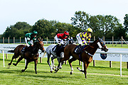 "Silver Character ridden by Ella McCain and Trained by Donald McCain, Cotton Club ridden by Marco Ghiani trained by George Boughey, Sacred Sprite ridden by Georgia Dobie trained by John Berry, Contingency Fee ridden by Grace McEntee trained by Phil McEntee, Lady Natasha ridden by Luke Bacon trained by James Grassick in the """"Hands and Heels"""" Apprentice Handicap - Mandatory by-line: Robbie Stephenson/JMP - 27/08/2019 - PR - Bath Racecourse - Bath, England - Race Meeting at Bath Racecourse"
