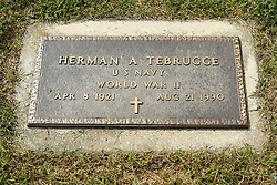 31 August 2017:   Veterans graves in Park Hill Cemetery in eastern McLean County.<br /> <br /> Herman A Tebrugge US Navy  World War II  Apr 8 1921  Aug 21 1990