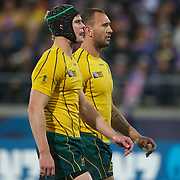 Berrick Barnes, (left) and Quade Cooper, Australia, in action during the Australia V USA, Pool C match during the IRB Rugby World Cup tournament. Wellington Stadium, Wellington, New Zealand, 23rd September 2011. Photo Tim Clayton...