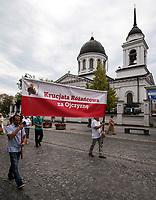Bialystok, 21.07.2019. Tylko kilkadziesiat osob przeszlo w Marszu w obronie rodziny zorganizowanym przez bialostocki Klub Gazety Polskiej i Krucjate Rozancowa. Byla to riposta na sobotni Marsz Rownosci, ktory przeszedl ulicami miasta N/z przejscie marszu obok cerkwi katedralnej sw Mikolaja fot Michal Kosc / AGENCJA WSCHOD