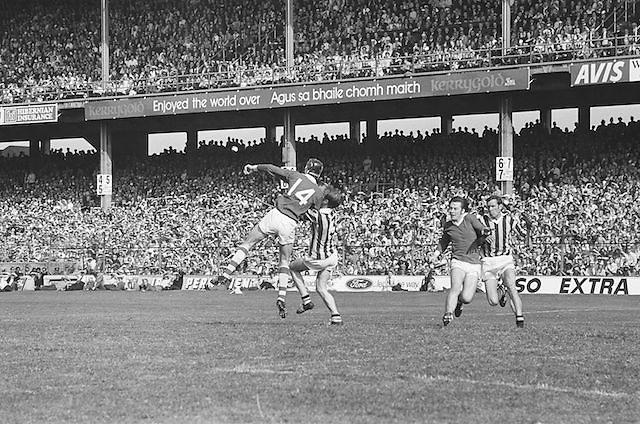 Cork jumps high to gain possession during at the All Ireland Senior Hurling Final, Cork v Kilkenny in Croke Park on the 3rd September 1972. Kilkenny 3-24, Cork 5-11.