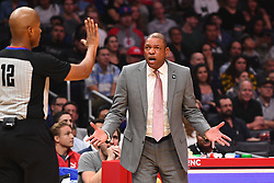 October 19, 2018 - Los Angeles, CA, U.S. - LOS ANGELES, CA - OCTOBER 19: Los Angeles Clippers head coach Doc Rivers argues a call during a NBA game between the Oklahoma City Thunder and the Los Angeles Clippers on October 19, 2018 at STAPLES Center in Los Angeles, CA. (Credit Image: © Brian Rothmuller/Icon SMI via ZUMA Press)