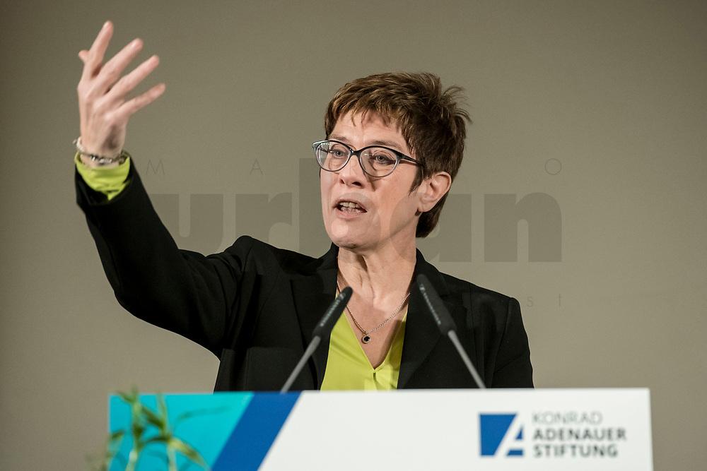 """14 JAN 2019, BERLIN/GERMANY:<br /> Annegret Kramp-Karrenbauer, CDU Bundesvorsitzende, haelt eine Rede, Veranstaltung der Konrad-Adenauer-Stiftung, KAS, """"Frauenpolitik - Auftrag fuer morgen!"""", Sheraton Hotel <br /> IMAGE: 20190114-01-026"""