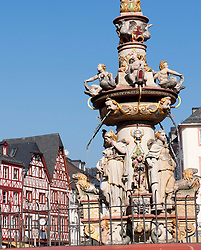 Fountain  in main Square in Trier Rhineland -Palatinate Germany