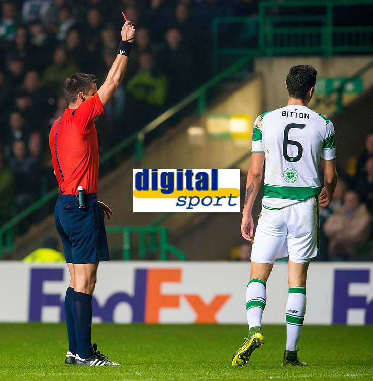 05/11/15 UEFA EUROPA LEAGUE GROUP STAGE<br /> CELTIC v MOLDE FK<br /> CELTIC PARK - GLASGOW<br /> Celtic's Nir Bitton (6) is shown a red card by referee Slavko Vincic