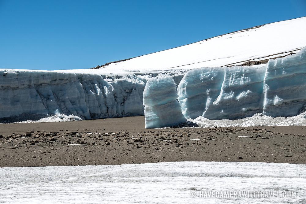 A thick glacier on the plateau near Crater Camp (18,810) feet, just below Kibo Summit, on Mt Kilimanjaro.