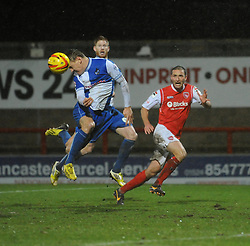 Bristol Rovers' Eliot Richards' header goes wide - Photo mandatory by-line: Dougie Allward/JMP - Tel: Mobile: 07966 386802 14/12/2013 - SPORT - Football - Morecombe - Globe Arena - Morecombe v Bristol Rovers - Sky Bet League Two