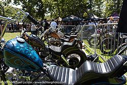 Guest bike corral at the Born Free Motorcycle Show (BF11) at Oak Canyon Ranch, Silverado  CA, USA. Saturday, June 22, 2019. Photography ©2019 Michael Lichter.