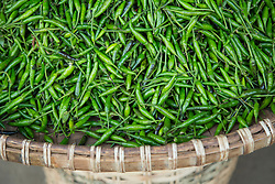 Asia, Myanmar, (also known as Burma), Mandalay, basket of green beans in market