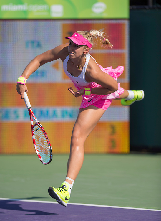 KEY BISCAYNE, FL - March 30: Sabina Lisicki (GER) in action here defeats Sara Errani (ITA) 61 62 at the 2015 Miami Open at the Crandon Tennis Center in Key Biscayne Florida.  Photographer Andrew Patron - CameraSport/BigShots<br /> <br /> Tennis - 2015 Miami Open presented by Itau - Crandon Park Tennis Center - Key Biscayne, Florida - USA - Day 8, Monday 30th March 2015<br /> <br /> © CameraSport - 43 Linden Ave. Countesthorpe. Leicester. England. LE8 5PG - Tel: +44 (0) 116 277 4147 - admin@camerasport.com - www.camerasport.com