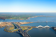 Nederland, Noord-Holland, Amsterdam, 11-12-2013; Zeeburg met Zeeburgereiland. Ingang Zeeburgertunnel, Enneus Heermabrug naar IJburg. Amsterdam-Noord en Waterland aan de horizon.<br /> Articial Island, East Amsterdam. Tunnel entrance, bridge to IJburg.<br /> luchtfoto (toeslag op standard tarieven);<br /> aerial photo (additional fee required);<br /> copyright foto/photo Siebe Swart
