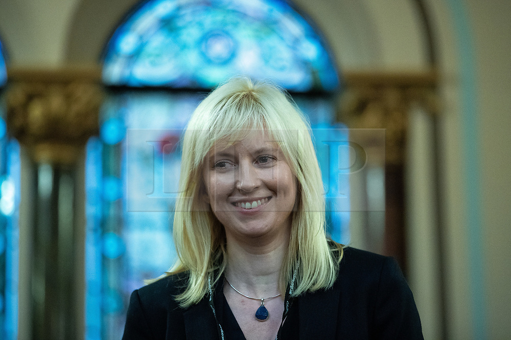 © Licensed to London News Pictures . 22/09/2019. Brighton, UK. ROSIE DUFFIELD speaks at a fringe event by the Jewish Labour Movement at middle Street Brighton Synagogue, during the second day of the 2019 Labour Party Conference from the Brighton Centre . Photo credit: Joel Goodman/LNP