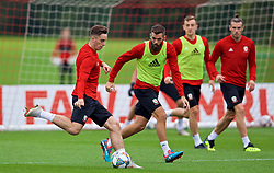 CARDIFF, WALES - Tuesday, September 4, 2018: Wales' Tom Lawrence and Joe Ledley during a training session at the Vale Resort ahead of the UEFA Nations League Group Stage League B Group 4 match between Wales and Republic of Ireland. (Pic by David Rawcliffe/Propaganda)