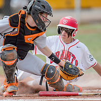 Grants Pirate Austin Hall (5) slides into home behind Gallup Bengal catcher Dominick Stewart (13) Tuesday in Grants.