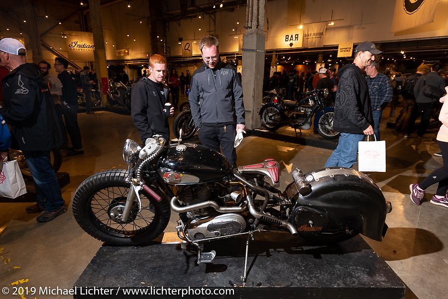 Madhouse Motors J Shia's 1957 custom Royal Enfield Indian (Royal Enfield imported and rebadged as Indians after the Springfield factory was closed in 1953) bobber built out of J's Boston shop.  On view at the Handbuilt Show. Austin, Texas USA. Saturday, April 13, 2019. Photography ©2019 Michael Lichter.