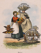 Taking poultry to market in wicker baskets. From 'Graphic Illustrations of Animals and Their Utility to Man', London, c1850.