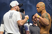 Jim Miller and Thiago Alves face off during the UFC 205 weigh-ins at Madison Square Garden in New York, New York on November 11, 2016.  (Cooper Neill for The Players Tribune)