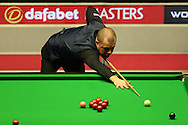 Barry Hawkins (Eng) in action v Mark Selby (Eng) , Quarter-Final match at the Dafabet Masters Snooker 2017, at Alexandra Palace in London on Friday 20th January 2017.<br /> pic by John Patrick Fletcher, Andrew Orchard sports photography.