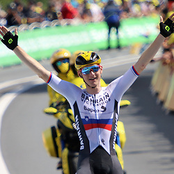 LIBOURNE (FRA) CYCLING: July 16<br /> 19th stage Tour de France Mourenx-Libourne<br /> Matej Mohorič has won a stage for the second time this Tour de France. Two weeks after his victory in Le Creusot the Slovenian was again the best in Libourne. After a solo race of 26 kilometres
