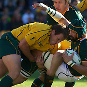 Victor Matfield, South Africa, is tackled by Ben Alexander, Australia, during the South Africa V Australia Quarter Final match at the IRB Rugby World Cup tournament. Wellington Regional Stadium, Wellington, New Zealand, 9th October 2011. Photo Tim Clayton...