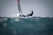 Sir Ben Ainslie competing in his Finn dinghy during the London 2012 Olympics.
