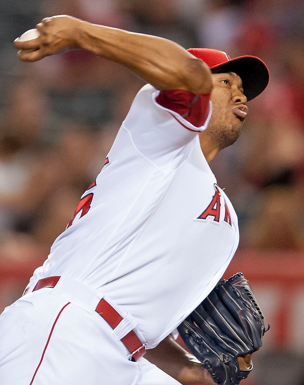The Angels' JC Ramirez pitches during the Angels' 5-4 victory over the Oakland Athletics at Angel Stadium on Tuesday.<br /> <br /> ///ADDITIONAL INFO:   <br /> <br /> angels.0803.kjs  ---  Photo by KEVIN SULLIVAN / Orange County Register  -- 8/2/16<br /> <br /> The Los Angeles Angels take on the Oakland Athletics at Angel Stadium.