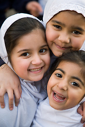 Children in the playground at the Nottingham Islamia school,