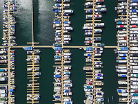 Aerial view of an harbour in Wahweap bay in Arizona, USA.