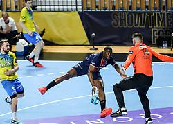 Dylan Nahi of Paris vs Miljan Vujovic of Celje during handball match between RK Celje Pivovarna Lasko (SLO) and Paris Saint-Germain Handball (FRA) in Round of 16 of EHF Champions League 2020/21, on April 1, 2021 in Arena Zlatorog, Celje, Slovenia. Photo by Vid Ponikvar / Sportida