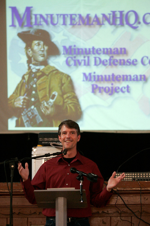 Chris Simcox of the Minutemen Civil Defense Corps addresses a townhall meeting in Goliad, Texas.