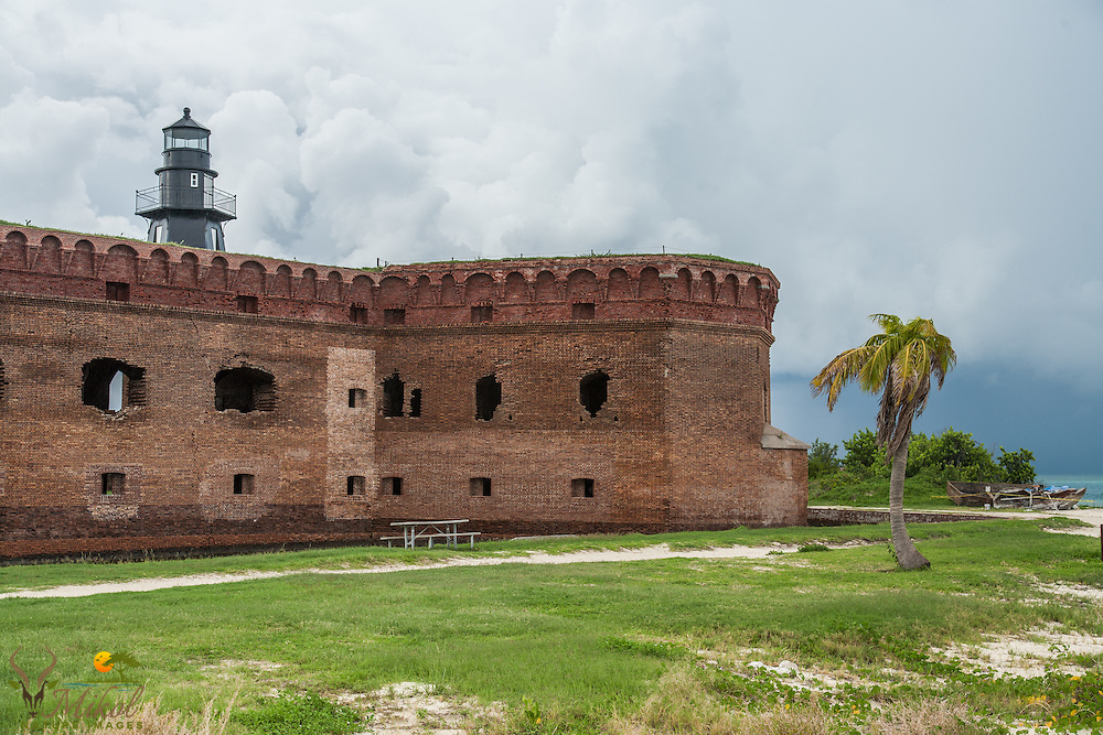 Fort Jefferson and Garden Key Lighthouse and Storm