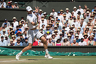 15 July 2018.  The Wimbledon Tennis Championships 2018 held at The All England Lawn Tennis and Croquet Club, London, England, UK.  <br /> <br /> GENTLEMEN'S SINGLES FINAL on Centre Court.  <br /> <br /> Kevin Anderson v Novak Djokovic<br /> <br /> <br /> Pictured:- Kevin Anderson.