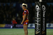 Tyler Morgan of the Dragons. Guinness Pro14 rugby match, Cardiff Blues v Dragons at the Cardiff Arms Park in Cardiff, South Wales on Friday 6th October 2017.<br /> pic by Andrew Orchard, Andrew Orchard sports photography.