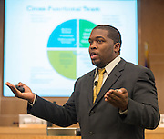 Houston ISD assistant superintendent Dr. Phillip Hickman discusses attendance with principals during their monthly meeting, September 4, 2013.