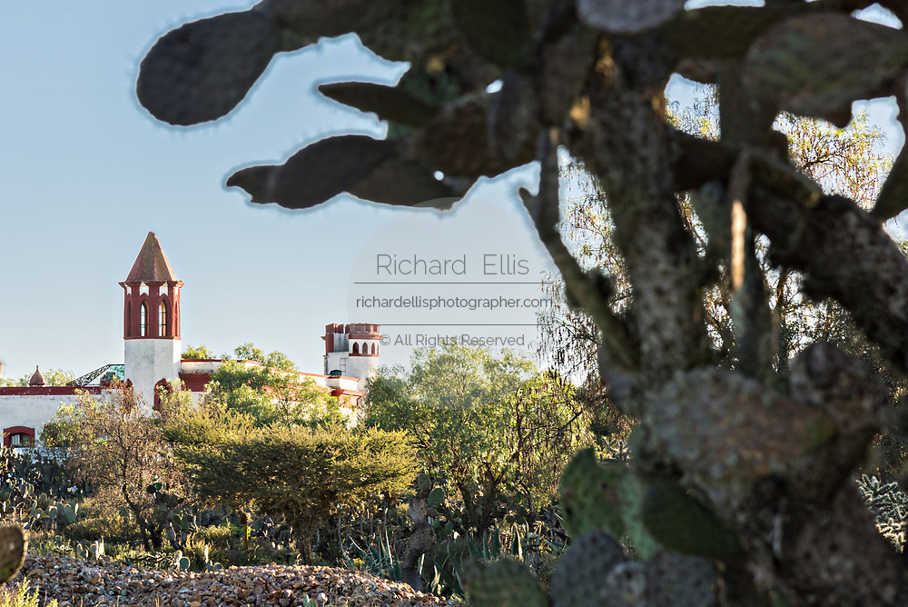 The towers of the former Santa Brigida Hacienda in the ghost town of Mineral de Pozos, Guanajuato, Mexico. The town, once a major silver mining center was abandoned and left to ruin but has slowly comeback to life as a bohemian arts community.