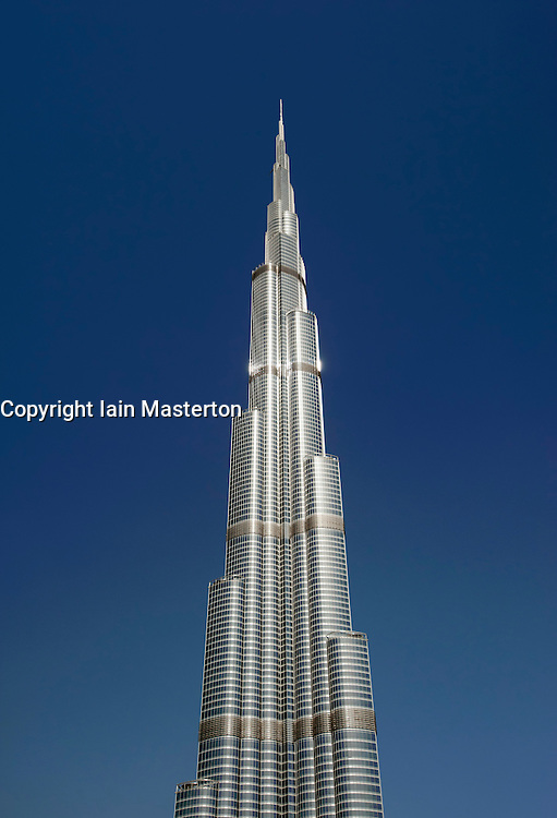 Detail of the Burj Khalifa tower the world's tallest building in Dubai , United Arab Emirates, UAE