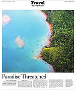 New York Times Tearsheet Travel page 1 Fiji Climate Change by Australian Melbourne based photojournalist Asanka Brendon Ratnayake