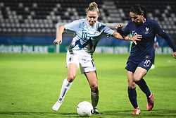 Dominika Conc of Slovenia and Amel Majri of France during football match between Slovenia and France in 2nd round of Women's world cup 2023 Qualifying round on 21 of September, 2021 in Mestni stadion Fazanerija, Murska Sobota, Slovenia. Photo by Blaž Weindorfer / Sportida
