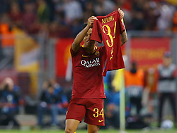 October 2, 2018 - Rome, Italy - AS Roma v Viktoria Plzen : UEFA Champions League Group G.Justin Kluivert of Roma dedicates the goal scored of 4-0 to his former Ajax teammates Nouri that had been in a coma since one year but now has woken up and is able to communicate.  Olimpico Stadium in Rome, Italy on October 2, 2018. (Credit Image: © Matteo Ciambelli/NurPhoto/ZUMA Press)