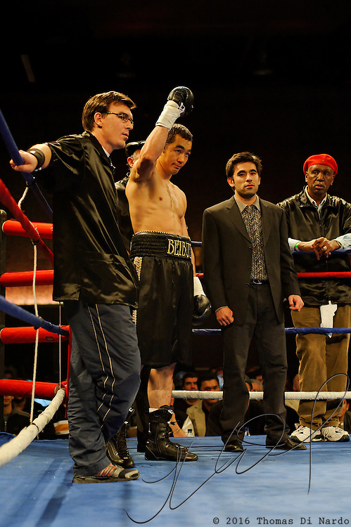 Beibut Shumenov is introduced for his bout against Epifanio Mendoza at the Meidenbauer Center in Bellevue, WA on December 13, 2008.