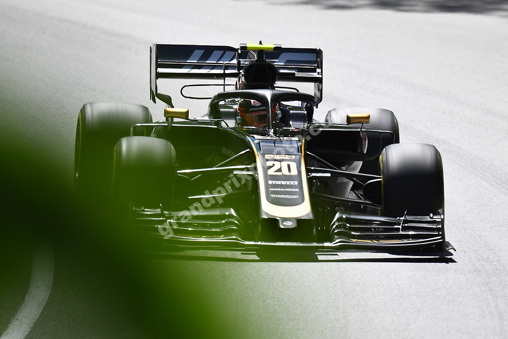 Kevin Magnussen (Haas-Ferrari) behind trees during practice for the 2019 Canadian Grand Prix in Montreal. Photo: Grand Prix Photo