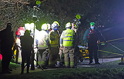 CAPTION UPDATE © Licensed to London News Pictures 19/01/2021. Orpington, UK. A woman was rescued from the River Cray in Orpington, South East London last night (19.01.21) after being attacked by a man. Reports on social media say the woman was stuck in muddy freezing river water. The London Ambulance Hazardous Area Response Team along with firefighters from the London Fire Brigade used specialist equipment to free the woman. She was taken to hospital and is in a non life threatening condition. A man has been arrested. Photo credit:Grant Falvey/LNP