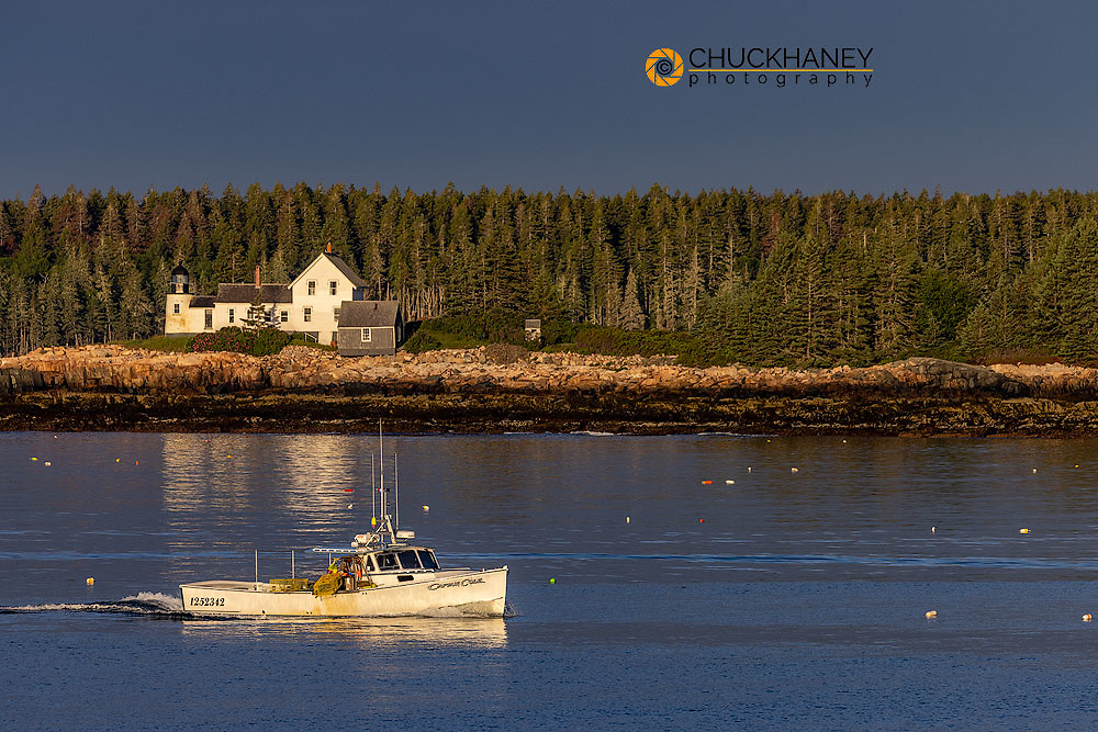 Lobster boats checking traps with lighthouse in background  in Winter Harbor, Maine, USA