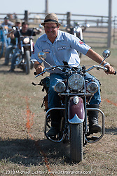 Kiwi Mike in the Cycle Source motorcycle rodeo games at the Spur Creek Ranch during the 78th annual Sturgis Motorcycle Rally. Sturgis, SD. USA. Wednesday August 8, 2018. Photography ©2018 Michael Lichter.